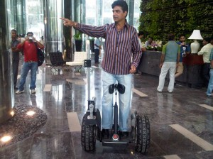 Indra Kumar on Segway 300x224 Sanju ensures Double Dhamaal on sets