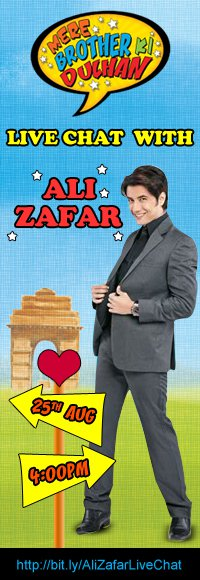 11aug zafar livechatmbkd Ali Zafar's live video chat with fans on the 25th of August