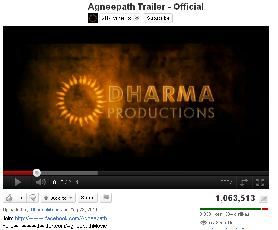 11sep agneepath youtuberecord Agneepath Trailer Breaks Records!