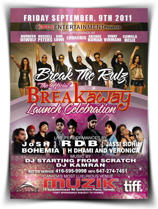 11sep breakaway tiff muzzik The Official TIFF Breakaway (Speedy Singhs) Movie Launch Celebration at MUZIK!