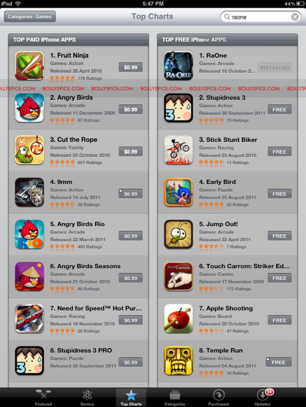 11oct raonegametopiPhoneapp Ra.One game No. 1 on iPhone appstore within 24 hours!
