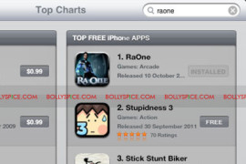 Ra.One game No. 1 on iPhone appstore within 24 hours!