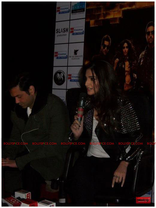 11dec sonam bobby02 Sonam Kapoor and Bobby Deol promote Players   Go for Gold in Chandighar