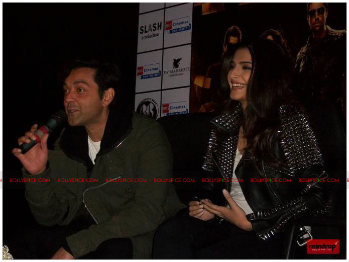 11dec sonam bobby05 Sonam Kapoor and Bobby Deol promote Players   Go for Gold in Chandighar
