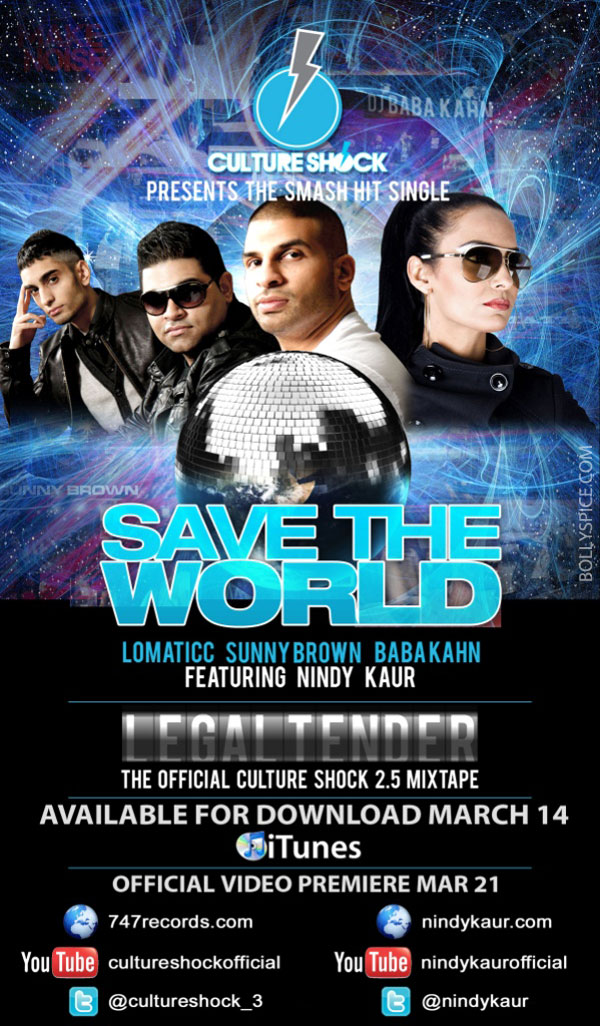 12mar CS NK savetheworld Bhangra Queen Nindy Kaur to shine with new single Save The World