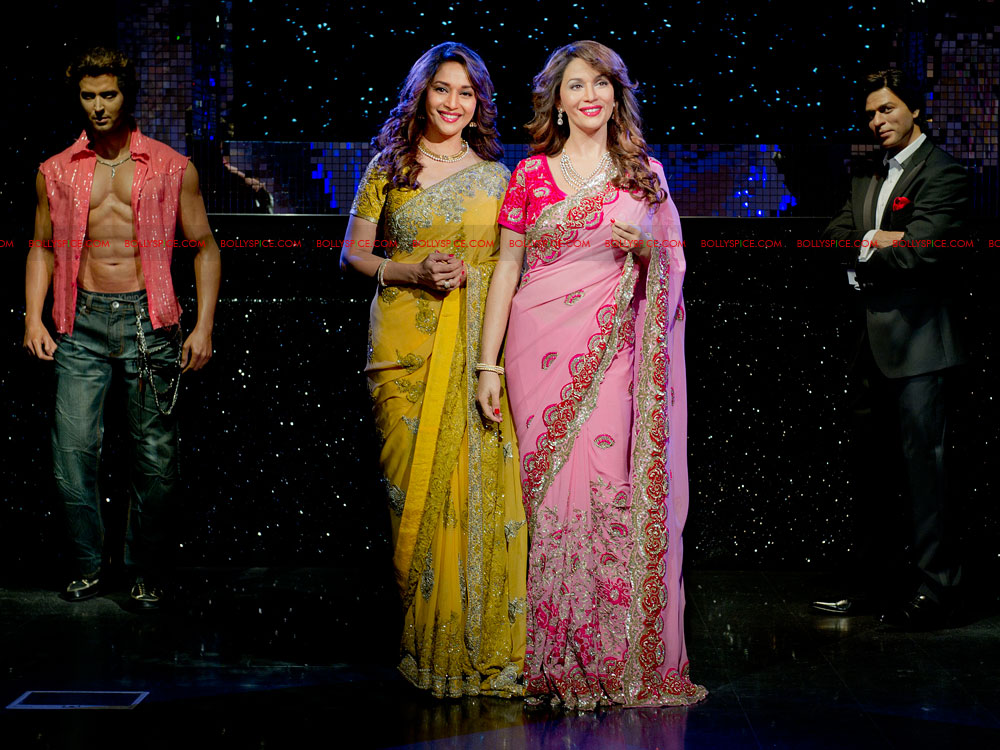 12mar madhuri tussauds06 Meeting my wax double today is very surreal   Madhuri unveils her statue at Madame Tussauds!