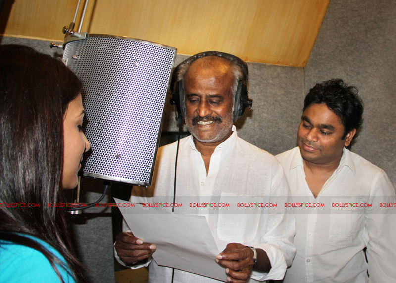 12mar rajni sings01 Rajinikanth sings for AR Rahman and Kochadaiyaan!