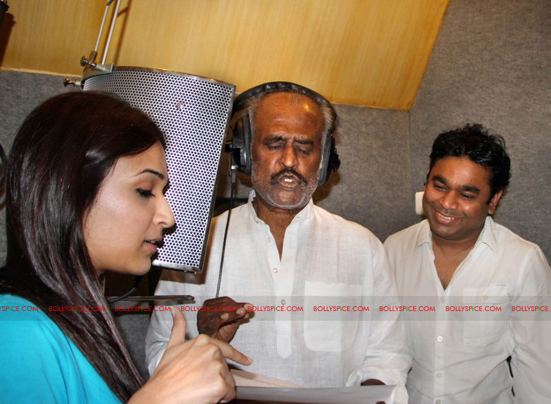12mar rajni sings02 Rajinikanth sings for AR Rahman and Kochadaiyaan!