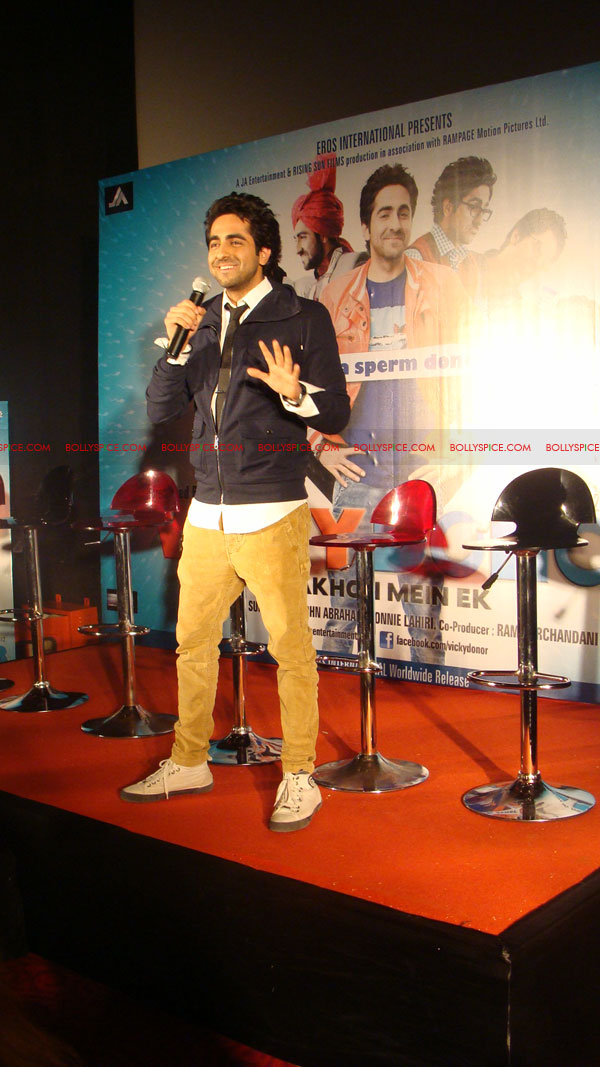 12mar vickydonorlaunch01 John Abraham at the launch of his maiden production Vicky Donor!