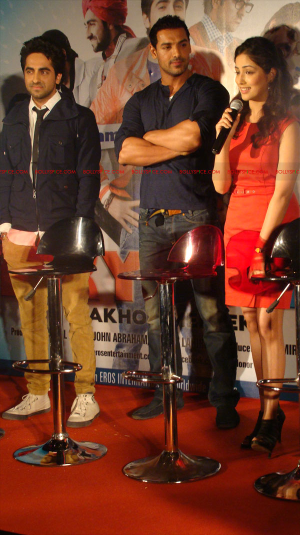 12mar vickydonorlaunch04 John Abraham at the launch of his maiden production Vicky Donor!