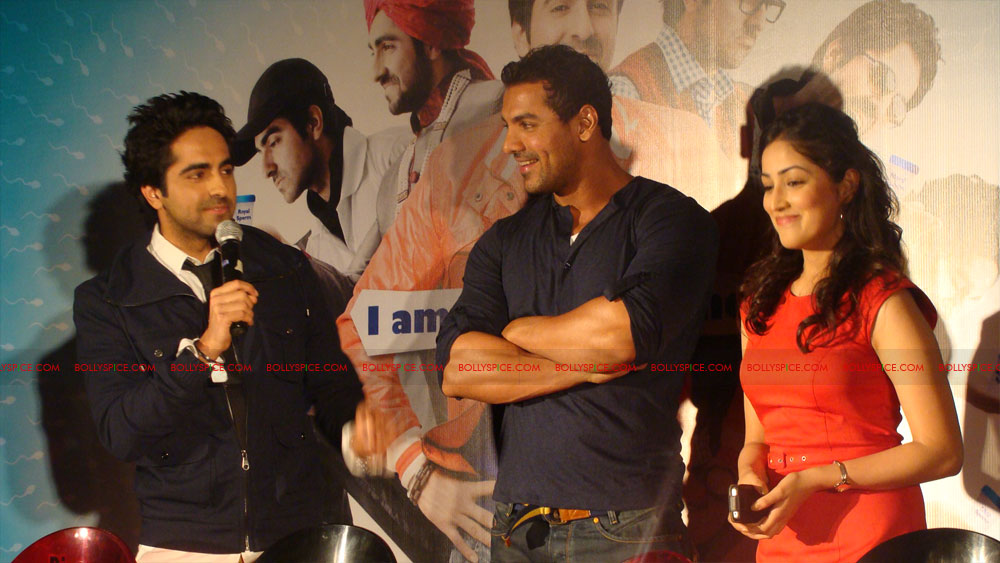12mar vickydonorlaunch05 John Abraham at the launch of his maiden production Vicky Donor!