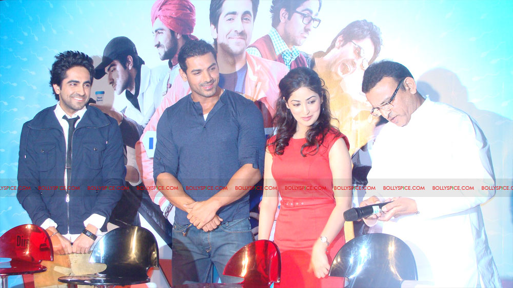 12mar vickydonorlaunch06 John Abraham at the launch of his maiden production Vicky Donor!