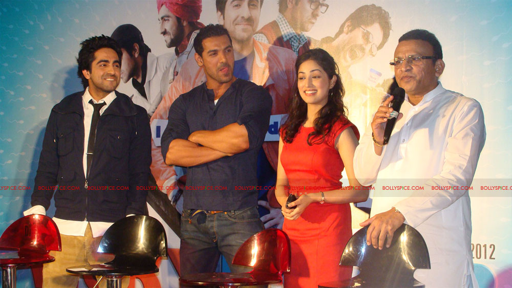 12mar vickydonorlaunch07 John Abraham at the launch of his maiden production Vicky Donor!
