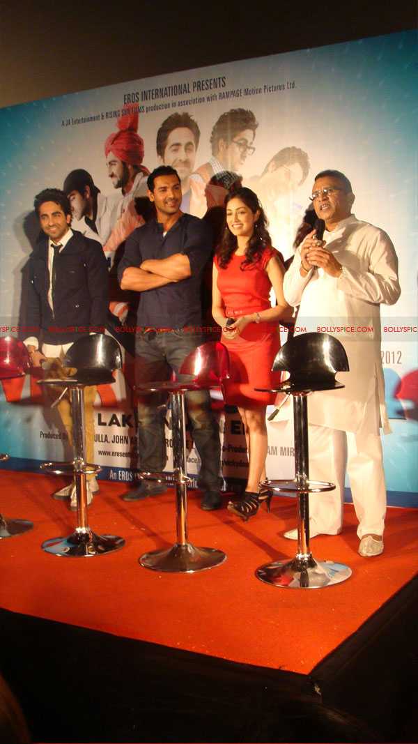 12mar vickydonorlaunch08 John Abraham at the launch of his maiden production Vicky Donor!