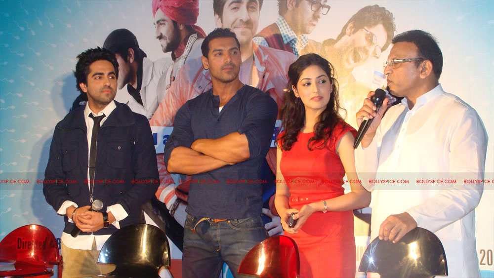 12mar vickydonorlaunch11 John Abraham at the launch of his maiden production Vicky Donor!