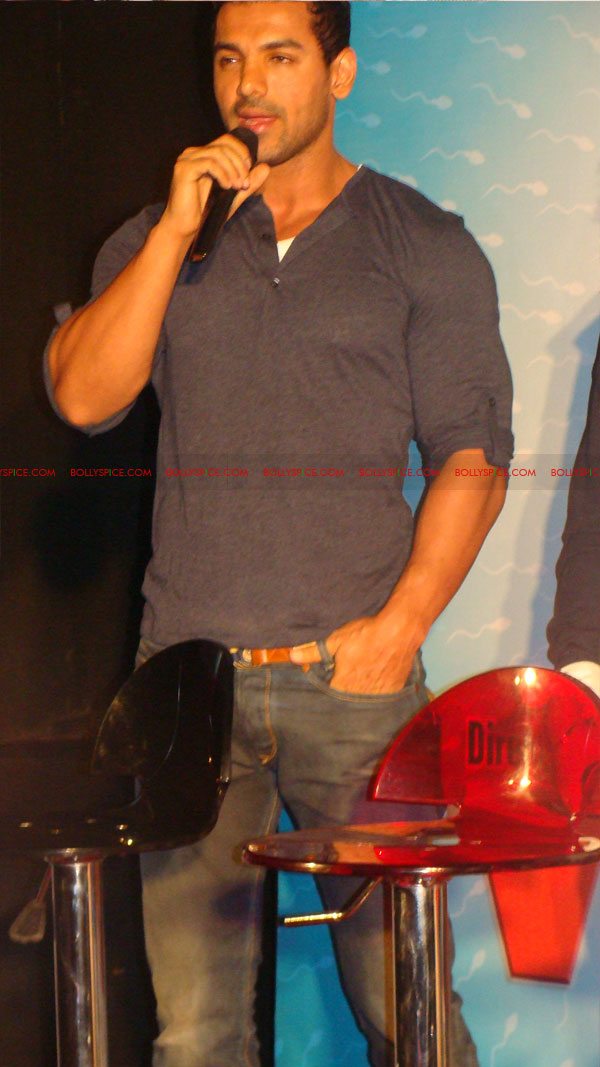 12mar vickydonorlaunch13 John Abraham at the launch of his maiden production Vicky Donor!