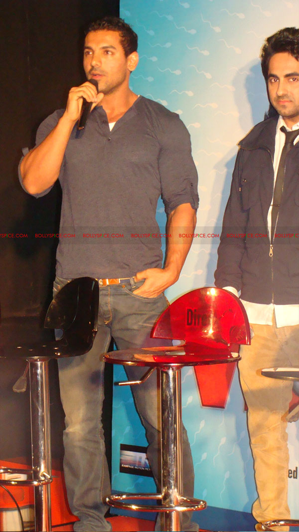 12mar vickydonorlaunch14 John Abraham at the launch of his maiden production Vicky Donor!