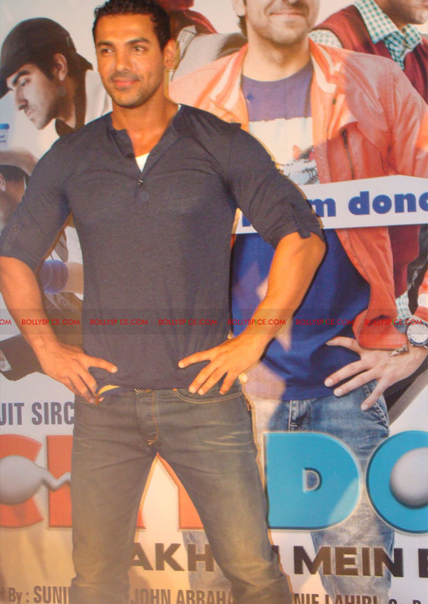 12mar vickydonorlaunch20 John Abraham at the launch of his maiden production Vicky Donor!