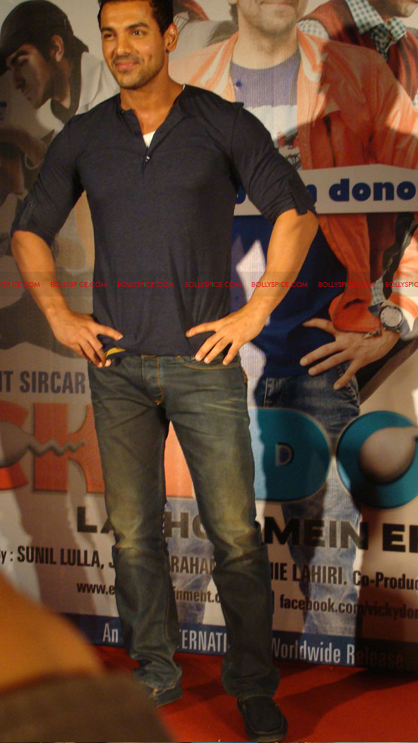 12mar vickydonorlaunch21 John Abraham at the launch of his maiden production Vicky Donor!
