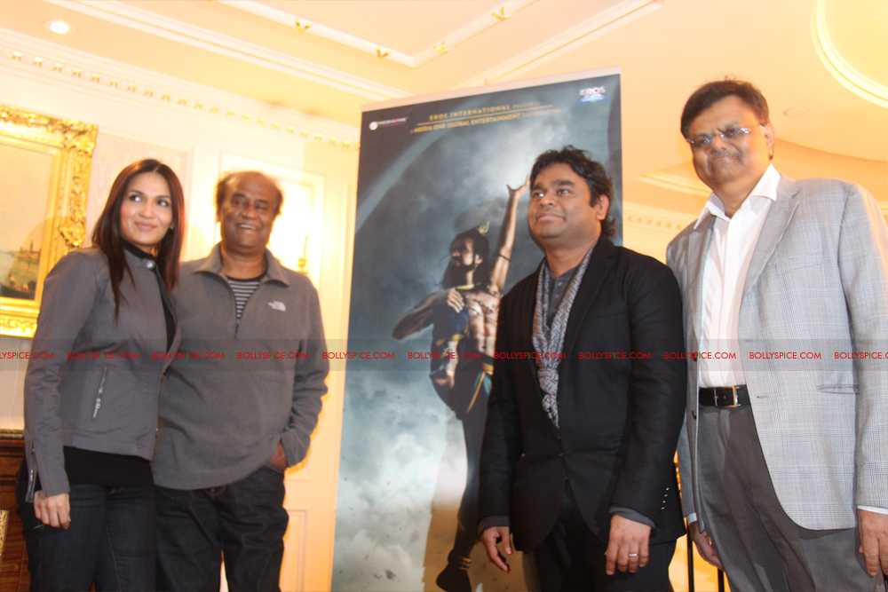 12mar kochadaiyaan medialaunch05 Rajnikanth and AR Raman at the Kochadaiyaan launch UK in Pictures!