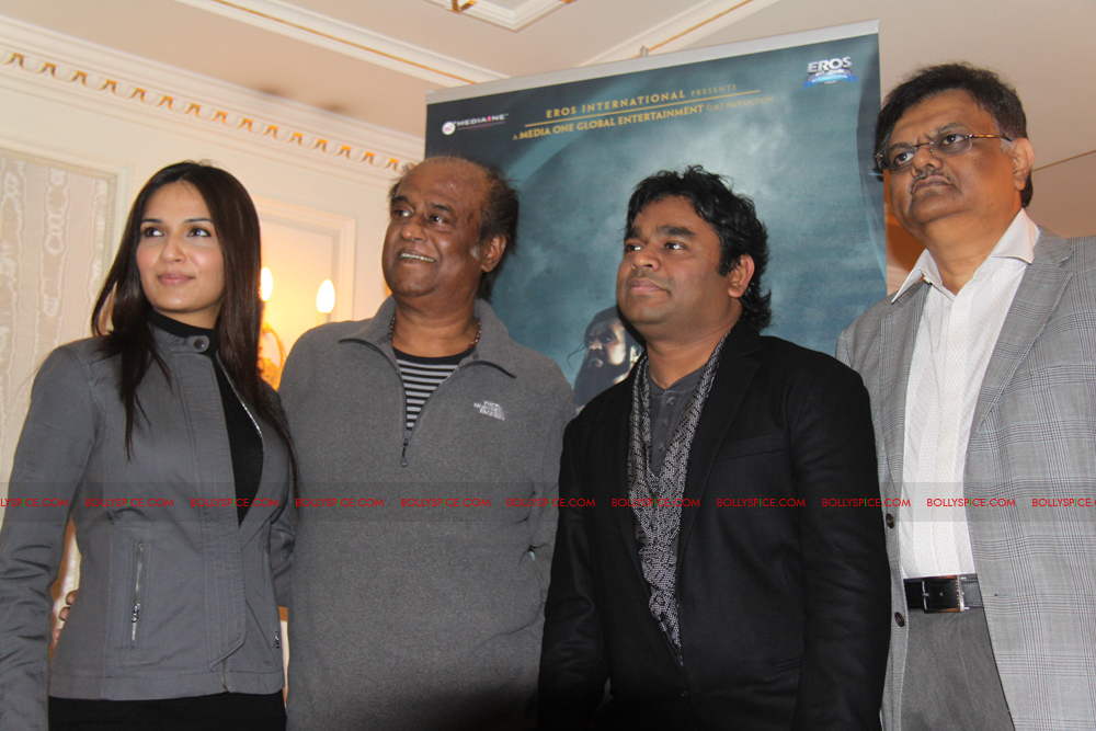 12mar kochadaiyaan medialaunch09 Rajnikanth and AR Raman at the Kochadaiyaan launch UK in Pictures!