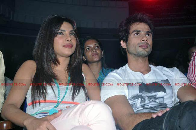 12jun TMK eventJaiHind04 Check out Shahid and Priyanka at the Teri Meri Kahaani Mumbai Events including riding a train!