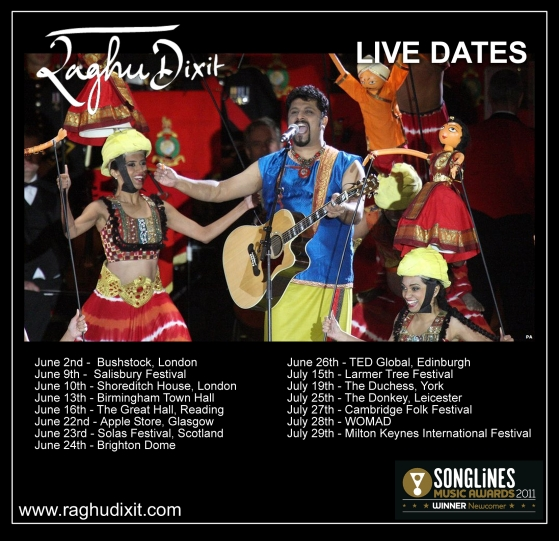 Live Dates Flyer 0612 Raghu Dixit Diamond Jubilee Live Performance on ITV1 Sunday
