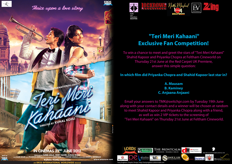 TMK Competition UK Readers Win the Chance to Meet Shahid and Priyanka at the Teri Meri Kahaani red carpet premiere!
