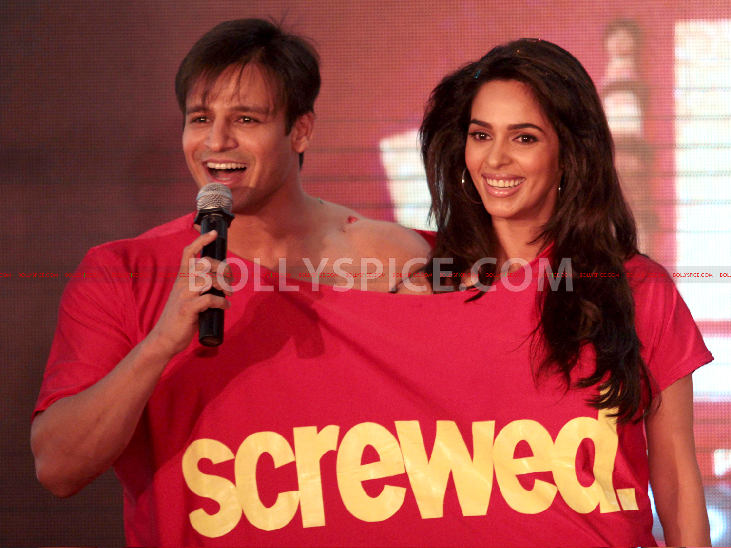 12jul KLPD1stlooklaunch04 Vivek Oberoi and Mallika Sherawat unveil the first poster of Kismat Love Paisa Dilli