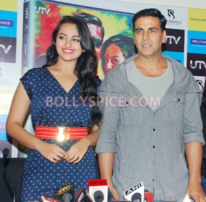 12aug RowdyRathoreDVDlaunch01 300x295 Akshay and Sonakshi at their witty best at DVD launch