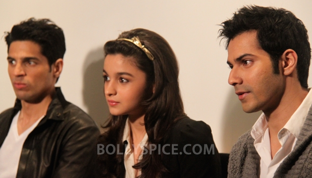 "12oct Alia Varun Sidharth SOTY01 ""Kuch Kuch Hota Hai is our favorite film!""   BollySpice with the cast of SOTY"