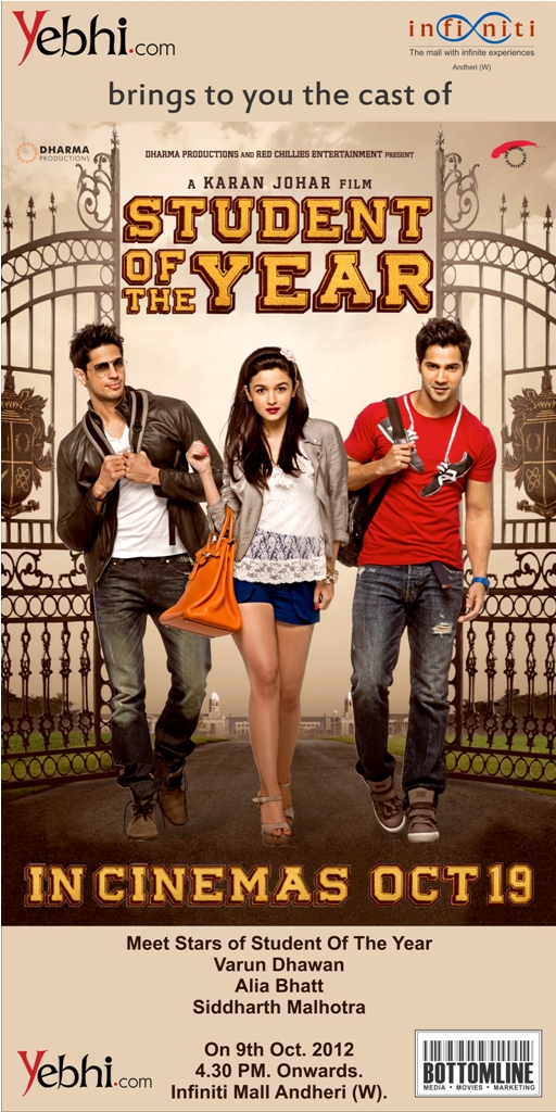 Standee10 1 Meet the cast of Student of the Year as they unveil SOTY Yebhi Graduation book at Infinti Mall October 9th!
