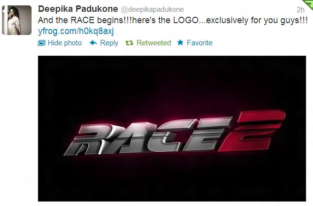 12nov Deepika Race2Logo01 Deepika Padukone unveils Race 2 Logo on Twitter