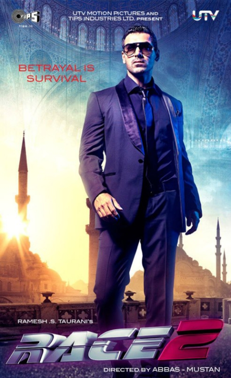 12nov John Race2poster John Abraham to perform 540 air kicks in Race 2
