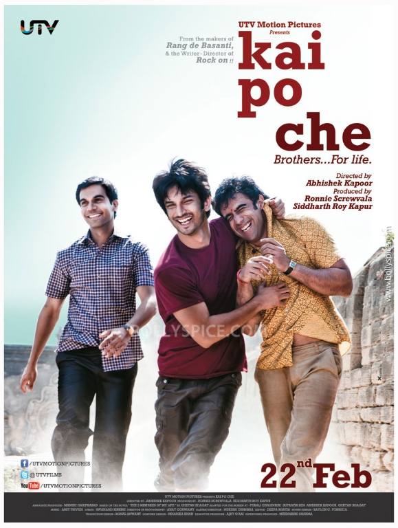 12dec KaiPoChe 1stLookPoster UTV Motion Pictures releases first look of Kai Po Che
