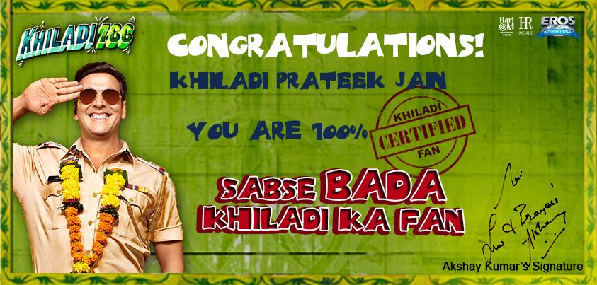 12dec KhiladiCertificate Khiladi fans get a Certificate with Khiladi Kumar's Signature!!