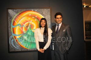 13jan abhishekartexhib 01 300x199 Abhishek Bachchan Inaugurates Radhika Goenkas Art Exhibition And the Flowers Showered