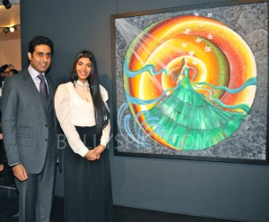 13jan abhishekartexhib 04 300x248 Abhishek Bachchan Inaugurates Radhika Goenkas Art Exhibition And the Flowers Showered