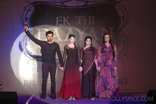 13jan ekthidaayanlaunch 04 Emraan Hashmi and his leading ladies at the unique Ek Thi Daayan launch