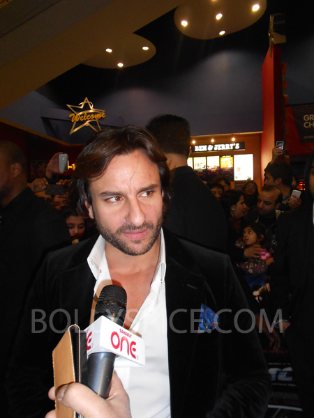 13jan saiffeltham 06 Saif Ali Khan showers love to all his fans at the Race 2 promotional event in London