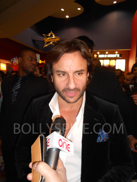 13jan saiffeltham 07 Saif Ali Khan showers love to all his fans at the Race 2 promotional event in London