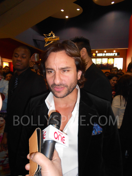 13jan saiffeltham 08 Saif Ali Khan showers love to all his fans at the Race 2 promotional event in London