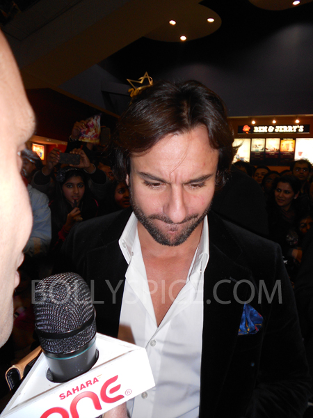 13jan saiffeltham 09 Saif Ali Khan showers love to all his fans at the Race 2 promotional event in London