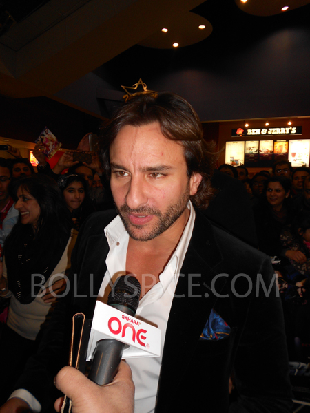 13jan saiffeltham 10 Saif Ali Khan showers love to all his fans at the Race 2 promotional event in London