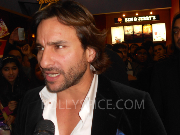 13jan saiffeltham 11 Saif Ali Khan showers love to all his fans at the Race 2 promotional event in London