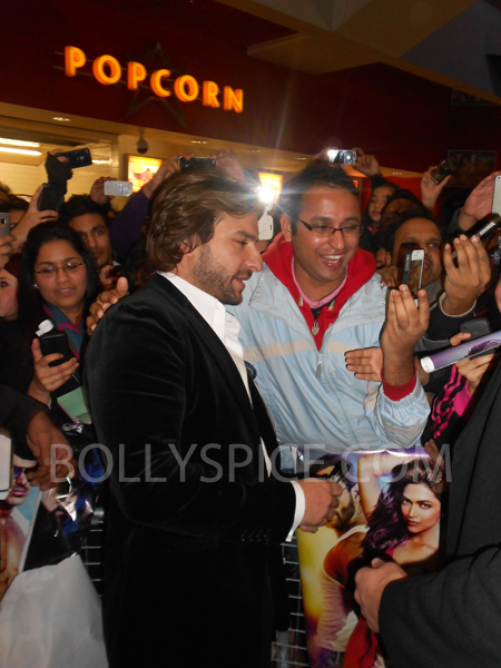 13jan saiffeltham 13 Saif Ali Khan showers love to all his fans at the Race 2 promotional event in London