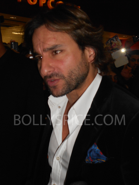 13jan saiffeltham 15 Saif Ali Khan showers love to all his fans at the Race 2 promotional event in London