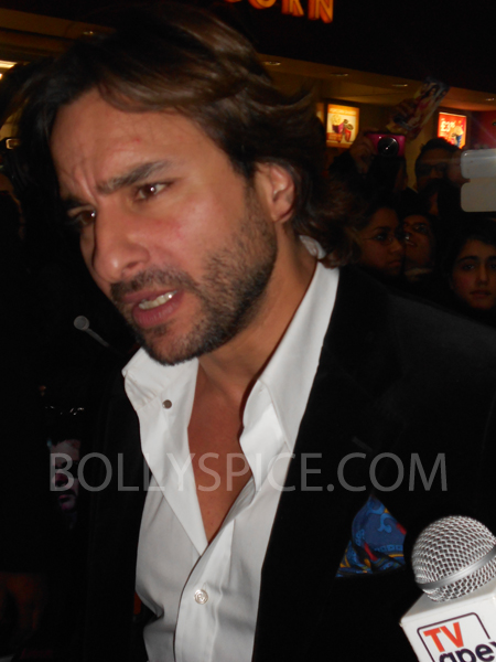 13jan saiffeltham 16 Saif Ali Khan showers love to all his fans at the Race 2 promotional event in London