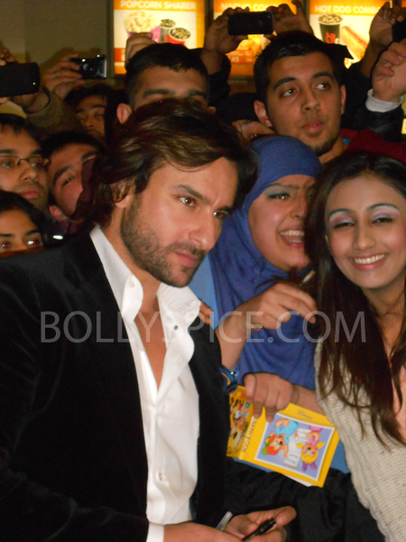 13jan saiffeltham 17 Saif Ali Khan showers love to all his fans at the Race 2 promotional event in London
