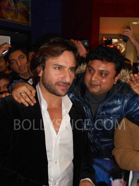 13jan saiffeltham 18 Saif Ali Khan showers love to all his fans at the Race 2 promotional event in London